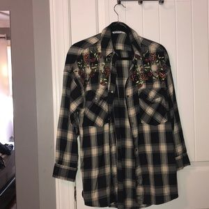 Flannel with floral embellishments